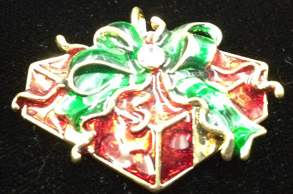 Christmas Present Brooch Pin & Pendant