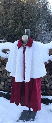 Vintage Christmas Carol Cape - Velvet and Faux Fur