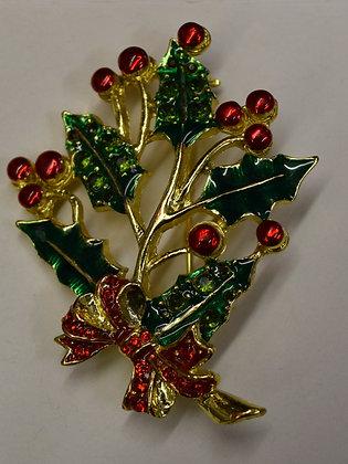 Vintage Christmas Greenery Brooch Pin