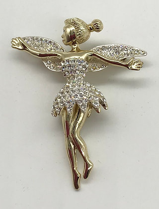 Fairy with Movable Legs Brooch Pin Gold Colour