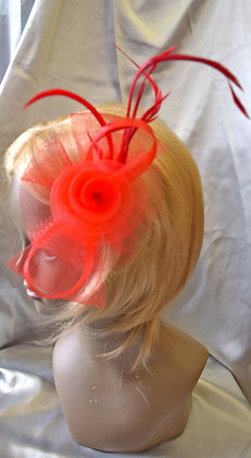 Fancy Fascinator Red with Feathers Clip Style