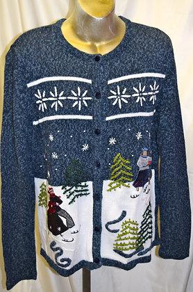 Vintage Winter Scene Christmas Sweater L