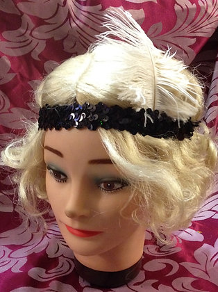 Black Sequin Flapper Headband with Ostrich Feather