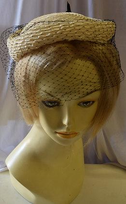 Vintage 1960's Beige and Blue Fancy Summer Hat