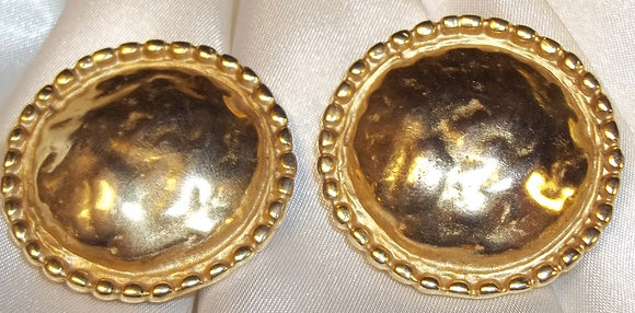 Vintage FO Inc Clip On Earrings 2D Button Style