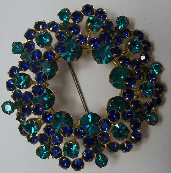 Vintage Turquoise and Blue Austrian Brooch Pin