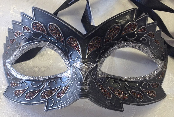 Black & Bronze Ridged Design Masquerade Mask