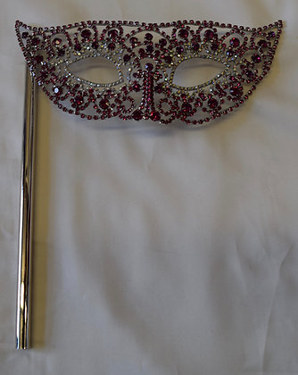Hand Held Crystal Masquerade Mask Fuchsia