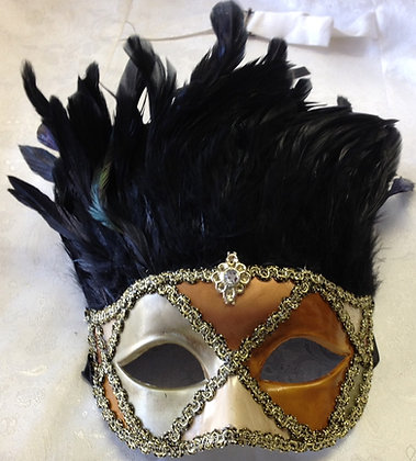 Feather Roman Masquerade Mask Gold and Black