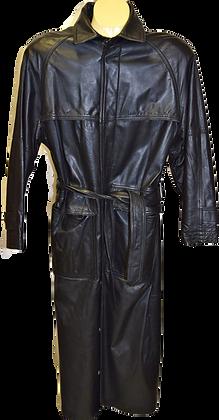 Men's Vintage Leather Ranch Black Trench Coat