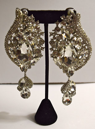 Glass Crystal Chandelier Clip-on Earrings