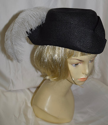 Vintage Black Tricorn Fancy Summer Hat with Feather