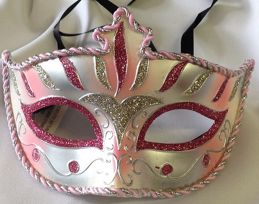 Fancy Masquerade Mask Pink & Silver