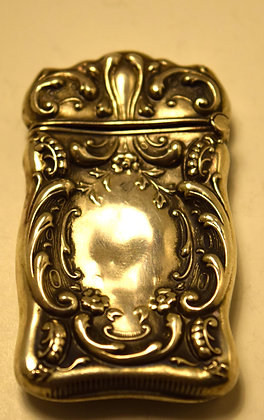 Antique Victorian Sterling Silver Handmade Matches Box with Decorative Design