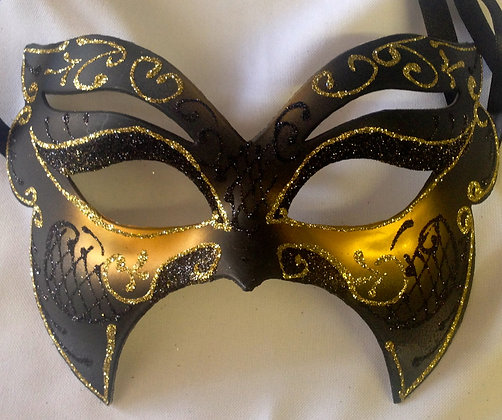 Black and Gold Butterfly Style Masquerade Mask
