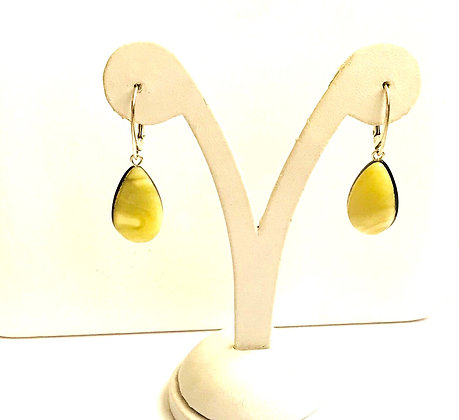 Teardrop Butter and Champagne Baltic Amber & Silver Earrings