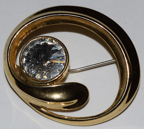 Vintage Brooch Pin with Clear Rhinestone