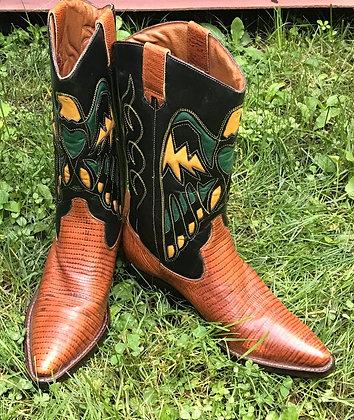 Vintage Women's Nine West Brown, Green, Black & Yellow Western Boots 6M