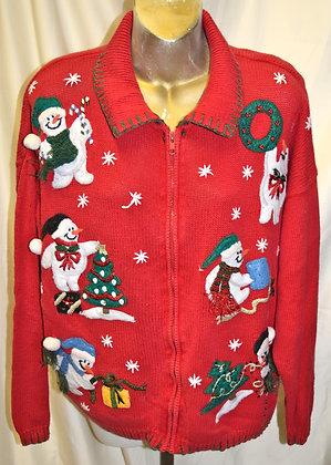 Vintage Christmas Sweater L Snowman