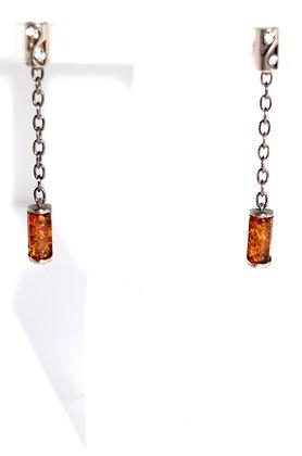 Rectangular Shape Cognac Baltic Amber and Silver Earrings