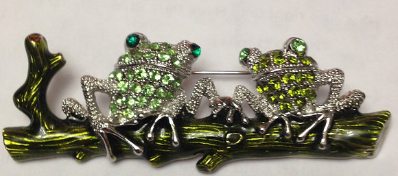 Frogs on a Log Brooch