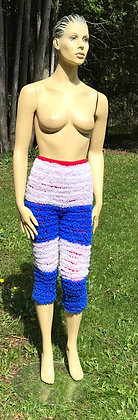 Red, White & Blue High Waisted Crinoline Material Pettipant Capri - Large
