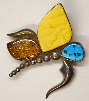 Butter, Cognac Baltic Amber & Blue Larimar Pendant