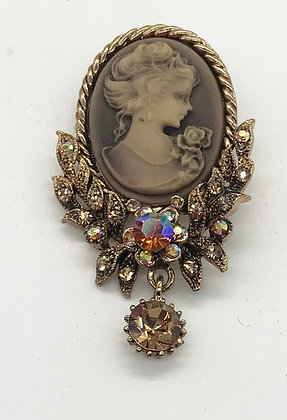 Brown Costume Cameo Brooch Pin and Pendant with Rhinestones