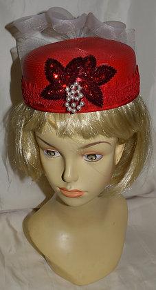 Vintage Red Floral Pillbox Fancy Summer Hat