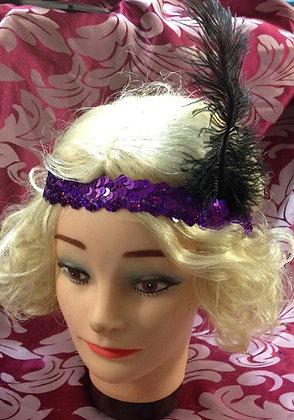 Purple Sequin Flapper Headband Ostrich Feather