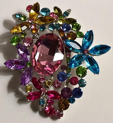 Multi Coloured Flower Brooch Pin