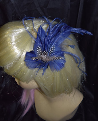 Simple Navy Blue Feather Fascinator