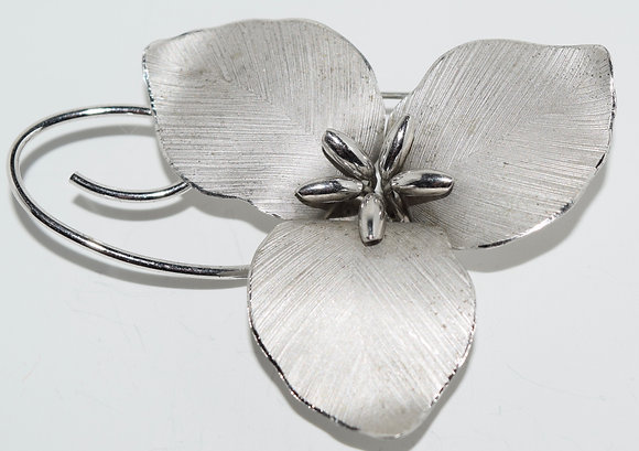 Vintage Bond Boyd Sterling Large Flower Brooch Pin