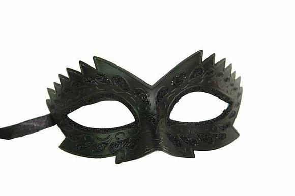 Classic Black with Ridged Design Masquerade Mask
