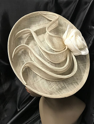Large Round Shape Fancy Ivory with Flair Fascinator