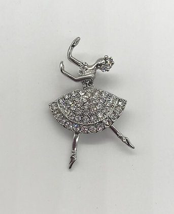 Ballerina with Clear Rhinestones Brooch Pin