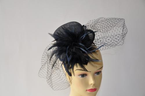 Fancy Black Top Hat Style With Feathers Fascinator