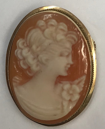Antique Shell & 14k Cameo Brooch Pin & Pendant