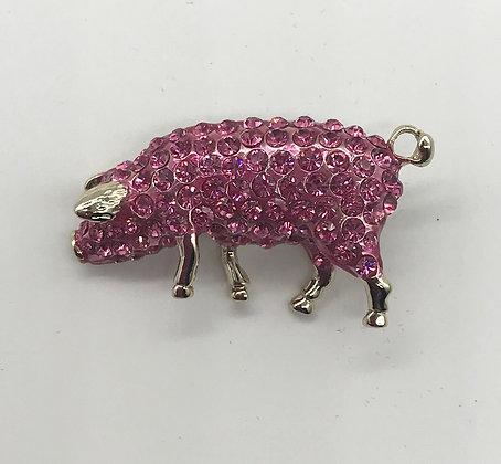 Pig Rhinestones Brooch Pin