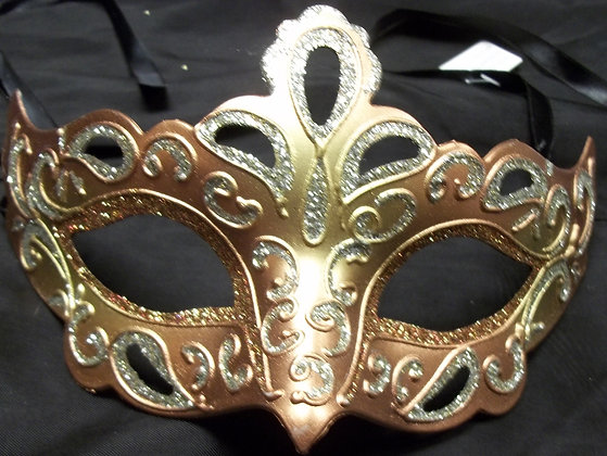 Hand Designed Mask Peach, Bronze and Silver
