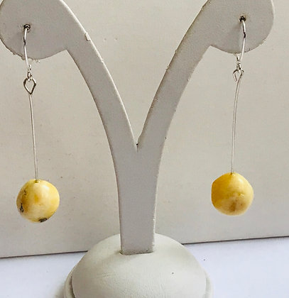 Natural Butter Baltic Amber with Silver Earrings