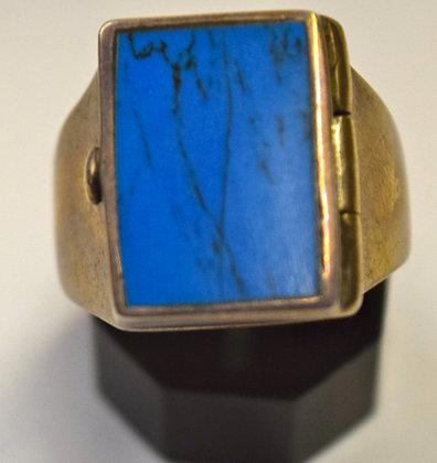 Locket Turqouise Silver Ring Size 8 3/4