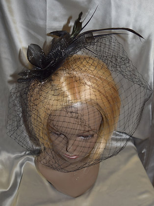Fancy Fascinator Black with Bird Cage