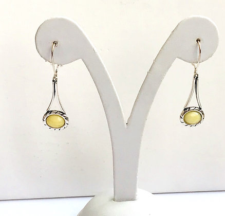 Milky Butter Baltic Amber with Silver Drop Earrings