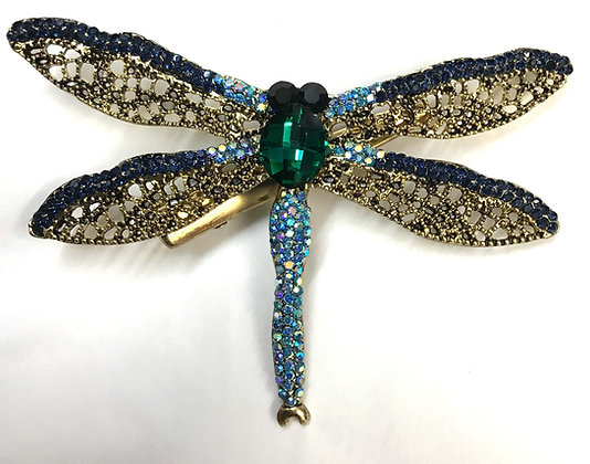 Blue Dragonfly Brooch Pin & Hair Clip