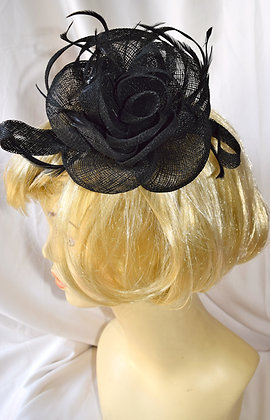 Black Flower Fancy Fascinator with Feathers