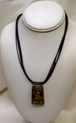 Baltic Amber Pendant on Leather & Silver Necklace