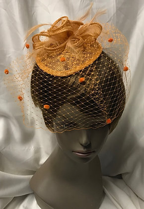 Small Pear Pillbox Fancy Orange Floral with Birdcage Design Fascinator