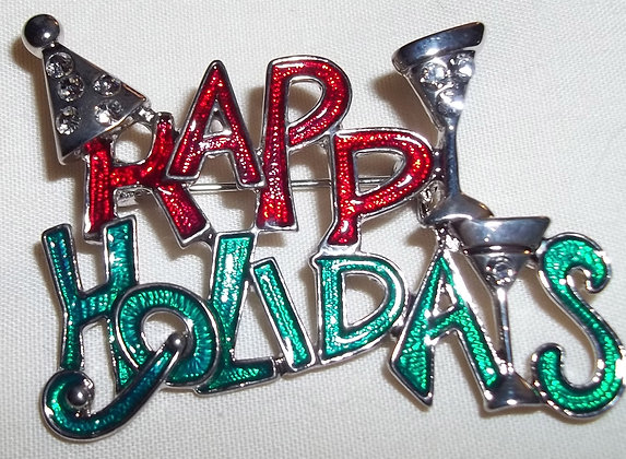 Happy Holiday Brooch Pin