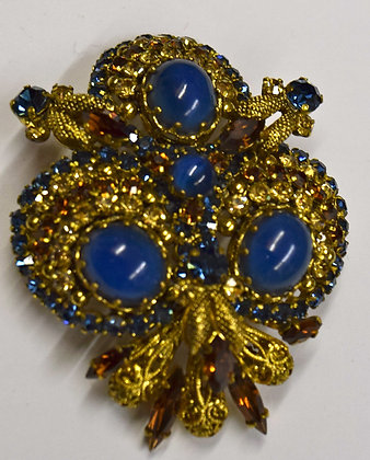 Vintage Floral Victorian Style Costume Brooch Pin